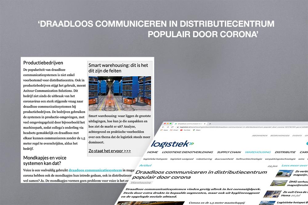 Axitour met AXIWI vermeld in artikel op Logistiek.nl: Draadloos communiceren in distributiecentrum populair door corona