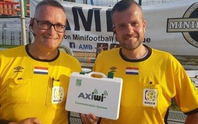 Scheidsrechters werken met AXIWI tijdens Socca oefeninterlands