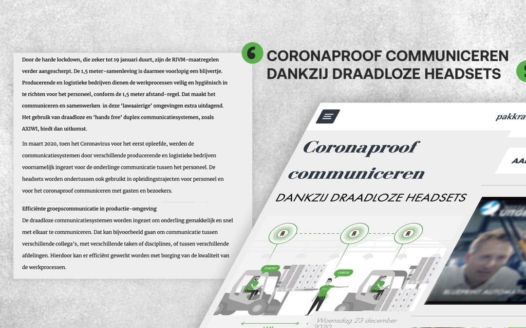 Artikel in Vaktijdschrift Pakkracht: Coronaproof communiceren dankzij draadloze headsets