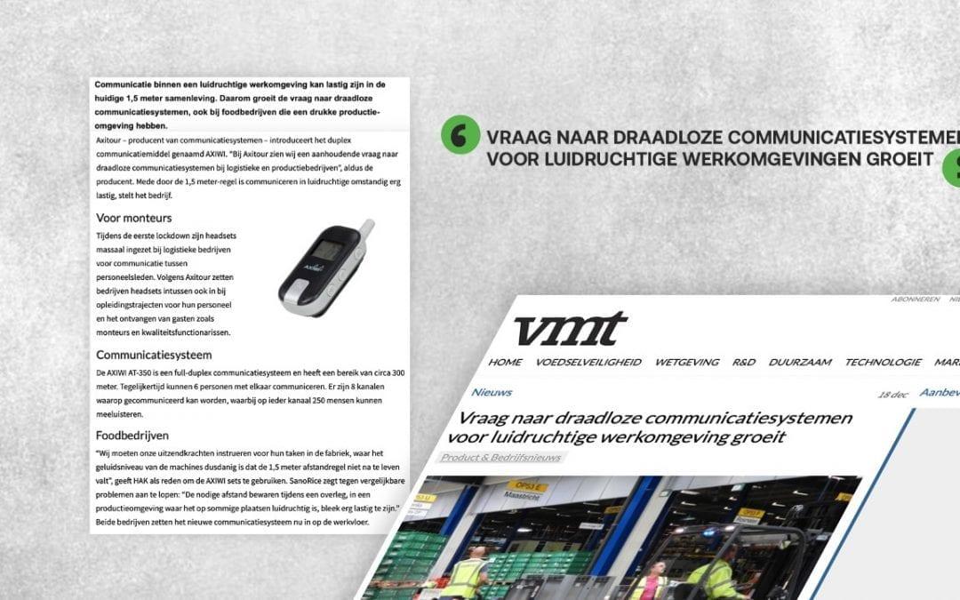 Axitour met AXIWI vermeld in vakblad voor foodprofessionals VMT: Vraag naar draadloze communicatiesystemen voor luidruchtige werkomgeving groeit