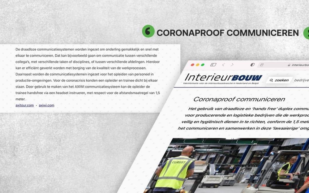 AXIWI vermeld in Vaktijdschrift Interieurbouw: Coronaproof communiceren